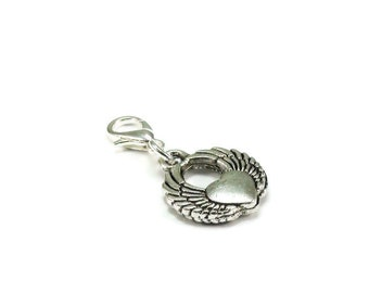 SALE Winged Heart Zipper Pull Purse Charm Silver Clip On Charms