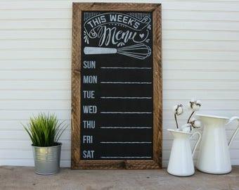 Weekly Menu Plan, Framed, Weekly Menu, Chalkboard
