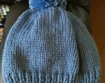 Mens bobble hat. Chunky hand knit beanie in Cascade blue Style craft yarn. Wool and acrylic blend. L/XL.
