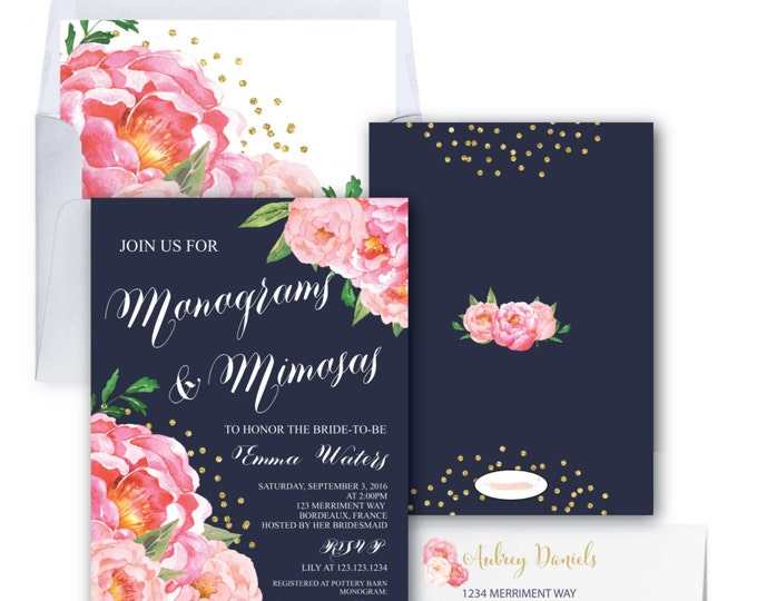 Monograms & Mimosas Invitation // Monogram Bridal Shower // Peonies // Peony // Navy Blue // Pink // Gold Glitter // BORDEAUX COLLECTION