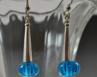 Lampwork Blue Earrings with Sterling Silver Cone Tops