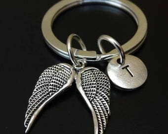 Angel Wing Keychain, Angel Wing Charm, Angel Wing Pendant, Angel Wing Key chain, Angel Wings Keychain, Wing Keychain, Religious Keychain