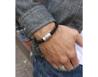 Chunky Leather Bracelet / Black Braided Leather with Magnetic Clasp / Mens Leather Bracelet / Lorne