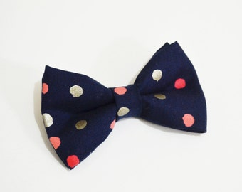 Navy with Coral and silver dot bow tie , boy bow tie, baby bow tie, adult bow tie, men's bow tie