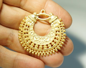 2 pcs, Matte Gold Plated Base Tribal Earring Components, 40x40mm, (002-003GP)