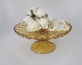 Anchor Hocking Fairfield Amber Glass Round Cake Plate, Pedestal, Stand, Platter ~ Vintage 1930's-1940's