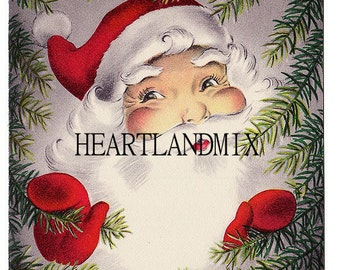 Bright Santa Vintage Christmas Image Download Printable 300 DPI Image