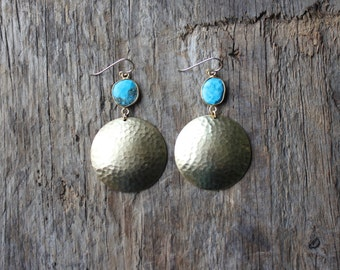 Gold Bezel Set Turquoise Stone and Hammered Brass Earrings