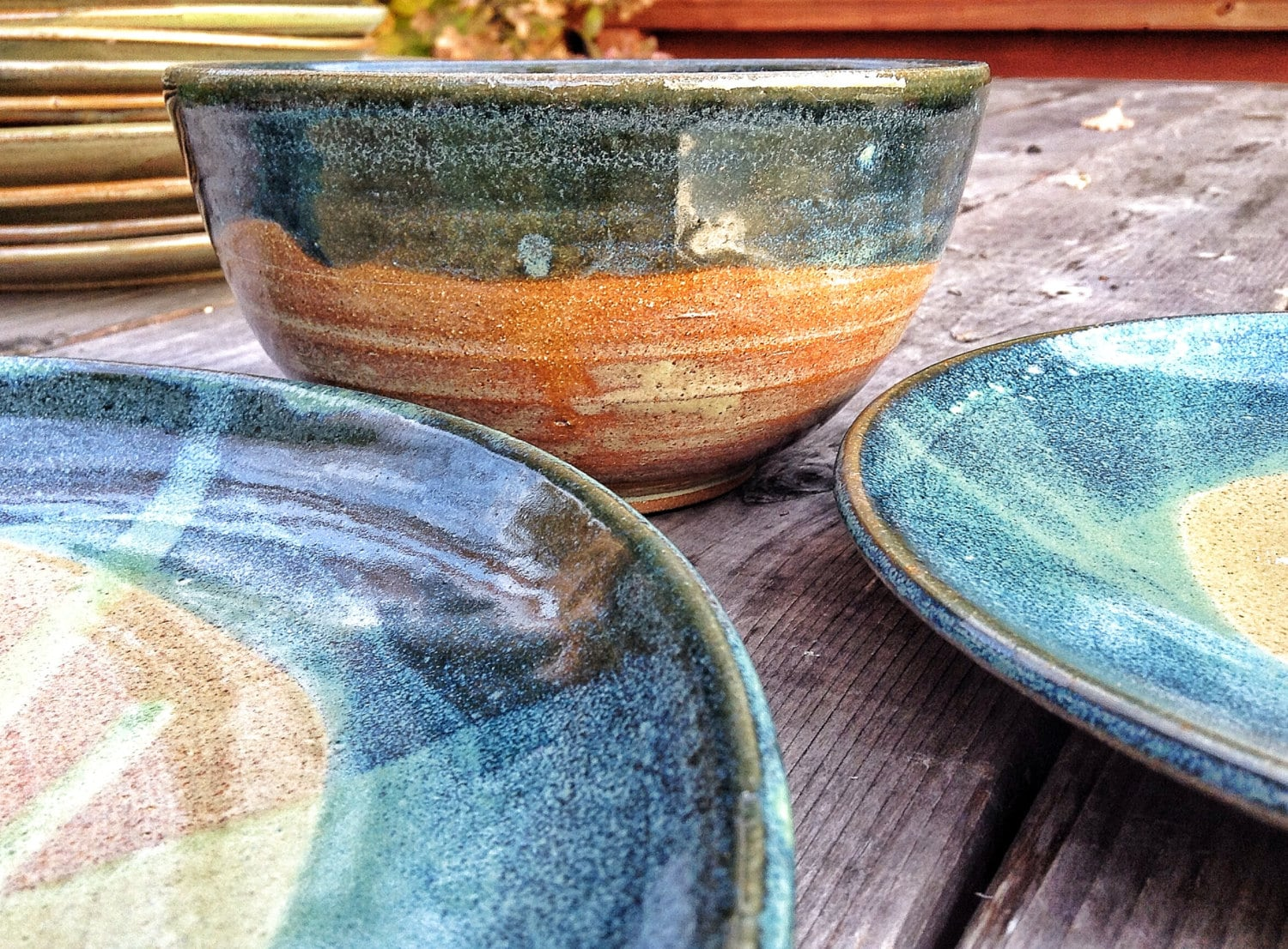 Sage green and blue place settings for four - Sage green color wheel ...