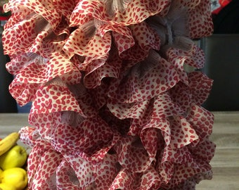 Red and white ruffled scarf
