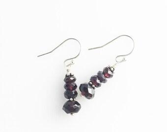 Garnet Earrings - Red Gemstone Earrings - Red Garnet Earrings - Garnet Dangle Earrings - Red Dangle Earrings - Silver Garnet Earrings