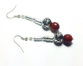 Red Earrings. Agate Earrings. Long Earrings. Dangle Earrings. Chunky Earrings. Silver Beaded Earrings. Gemstone earrings. Bold Earrings.