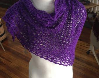 Jeweltone Purple Lacy shawlette - superwash merino