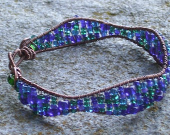 Antiqued Copper Wirework Bracelet    wireweaving with deep blue and green beads