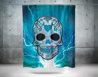 Sugar Skull Shower Curtain,Skull,Blue Skull,Sugar Skull,Bathroom Decor,Calavera Curtain,Day Of The Dead Curtain,Dia De Los Muertos Bathroom