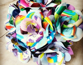 12 x My Little Pony Paper Flowers, Book Page Paper Roses - Handmade Paper flowers - Party Decor - Unicorn