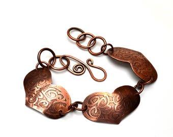 Copper Hearts Etched Bracelet