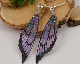 Bright Purple Fairy wings earrings