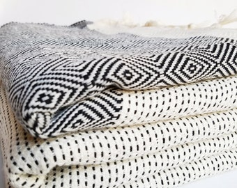 BOHO BLANKET, Turkish blanket, Turkish towel, bedspread, festival blanket, fringed throw, beach blanket, picnic blanket, jacquard, handmade