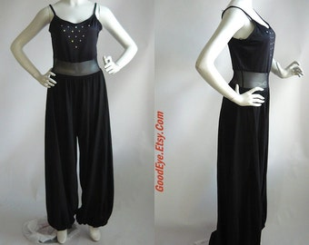 Vintage Stretch Jumpsuit Black SHEER Waist  /  size 6 8 10 12 / JAZZ Dance Lycra Harem Pants/  Curtain Call Costumes USA