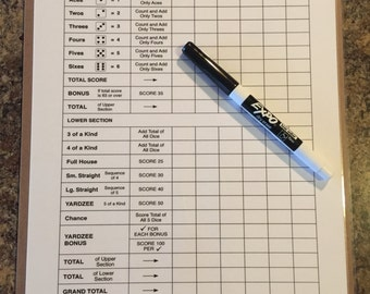 "Double sided laminated Yardzee scorecard with clipboard and low odor dry erase marker - 8.5"" x 11"""