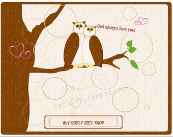 Owl Printable Valentine or Anniversary Card, Owl Always Love You, Instant Download, Printable PDF