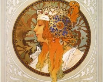 ART Nouveau Giclee Print by famous Alphonse Mucha of Woman with Headress
