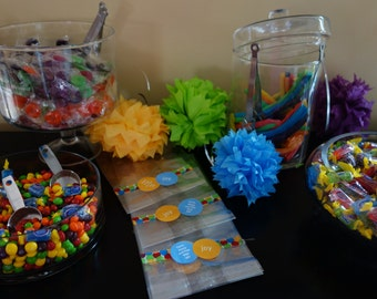 """24- """"Come Along and Play With Me"""" Phrase & """"joy"""" Circle Sticker Birthday Favor Bags -Orange/Blue/Rainbow - Events Handmade by DORANA"""