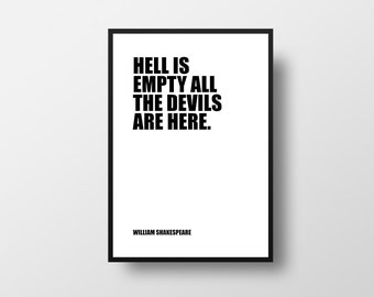 Shakespeare, Hell is empty All the devils are here, Literary Poster, Quote Poster, Wall Art, Literary Quote, William Shakespeare, Classic