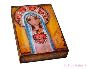 Mary and her Sacred Heart - ACEO Giclee print mounted on Wood (2.5 x 3.5 inches) Folk Art  by FLOR LARIOS