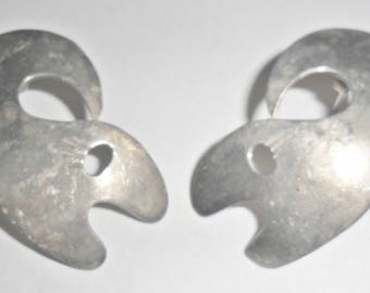Fab big vintage Mexico sterling silver whales fish figural pierced earrings