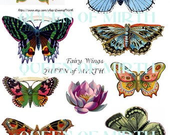 QUEEN OF MIRTH fairy wings instant download fairies victorian butterflies collage sheet art journal mixed media scrapbooking butterfly