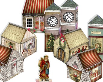printable christmas village Victorian paper houses and clock tower includes tiny figures downloadable files craft project collage sheets