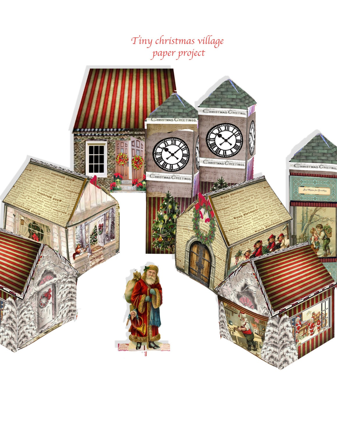 Printable christmas village victorian paper houses and clock zoom jeuxipadfo Image collections