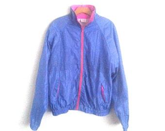 Vintage 80s Neon Windbreaker Vtg Jacket Pink Blue Large