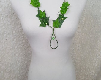Ivy Leaf Necklace, Ivy Vine Jewelry, Ivy Leaf Costume Necklace, Fairy Costume Necklace, Poison Ivy Cosplay Necklace, Music Festival Jewelry