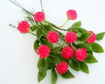 Miniature Polymer Clay Flowers Supplies Red Clover with Leaves, 6 bunches