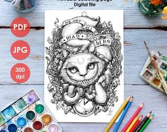CHESHIRE CAT COLOURING Page - Printable Coloring Page Adults Children Art Nouveau Lineart, Halloween Alice Wonderland Paint Medusa Dollmaker