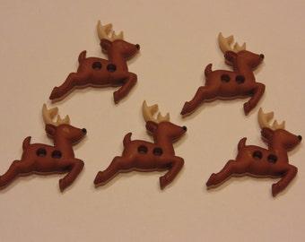 5 Reindeer acrylic 2 hole buttons, 18 x 20 mm (B1)