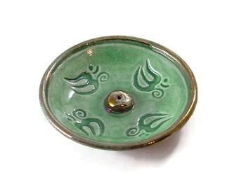 INCENSE BURNER Aum Handmade RAKU Pottery