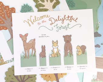 Printable Delightful Forest Play set- Instant PDF Download- woodland critters with background scene play mat