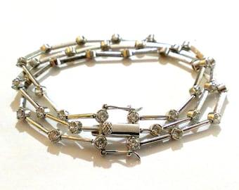 Vintage Sterling Silver CZ Bracelet BRIDAL Wedding