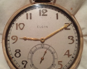 SALE Art Deco Elgin Pocketwatch 1938 15 Jewel 20 Year Gold Filled Pocket Watch Size 12 Sold AS IS