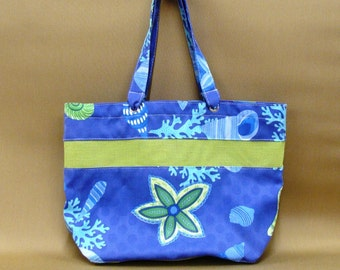 Blue Seashells Beach Bag