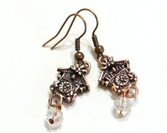 Cuckoo Clock earrings in antique copper with clear crystal beads