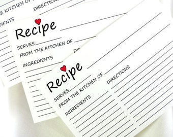 DIY Printable Recipe Cards with a Heart for a Bridal Shower in 3x5, 4x6 and 5x7