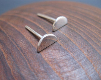 Tiny Half Moon Stud Earrings