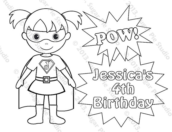 Personalized Printable SuperHero Super hero Girl Birthday
