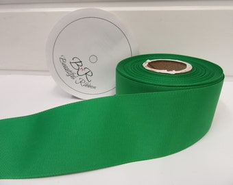 Grosgrain Ribbon 3mm 6mm 10mm 16mm 22mm 38mm 50mm Rolls, Bright Emerald Green, 2, 20 or 50 metres, Ribbed Double sided,
