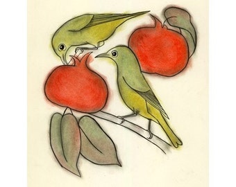 Bird wall art - 4 for 3 SALE Persimmon breakfast -  4 X 6 print
